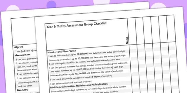 Year 6 Maths Assessment Group Checklist - maths, assessment