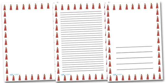 Princess Portrait Page Borders- Portrait Page Borders - Page border, border, writing template, writing aid, writing frame, a4 border, template, templates, landscape