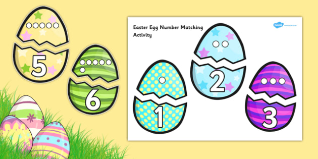 Easter Egg Number Matching Activity - easter, egg, number, match