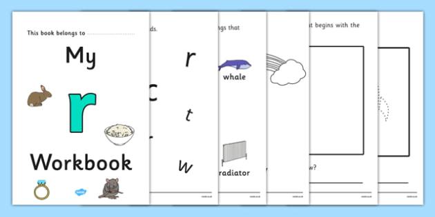 My Workbook r lowercase - workbook, r sound, lowercase, letters, alphabet, activity, handwriting, writing