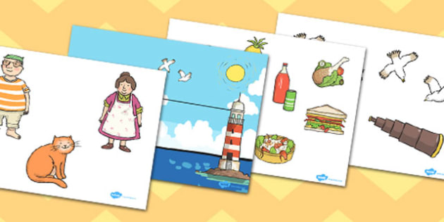 Story Cut Outs to Support Teaching on The Lighthouse Keepers Lunch - The Lightkeeper's Lunch, Ronda Armitage, Mr Grinling, Mrs Grinling, seagulls, seaside, lunch, Hamish, resources, sandwhich, story, story book, story book resources, story sequencing