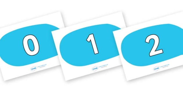 Numbers 0-50 on Speech Bubbles - 0-50, foundation stage numeracy, Number recognition, Number flashcards, counting, number frieze, Display numbers, number posters