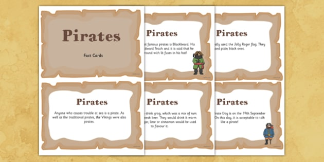 Pirate Display Fact Cards - pirate, display, fact cards, facts