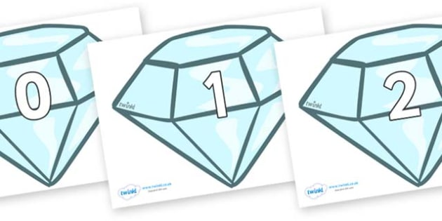 Numbers 0-100 on Diamonds - 0-100, foundation stage numeracy, Number recognition, Number flashcards, counting, number frieze, Display numbers, number posters