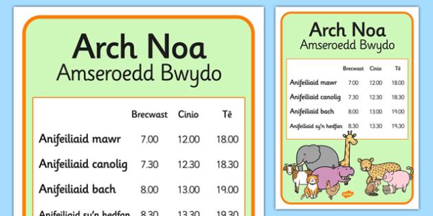 Noahs Ark Role Play Animal Feeding Times Welsh - Arch, Noa, anifeiliaid, amserlen