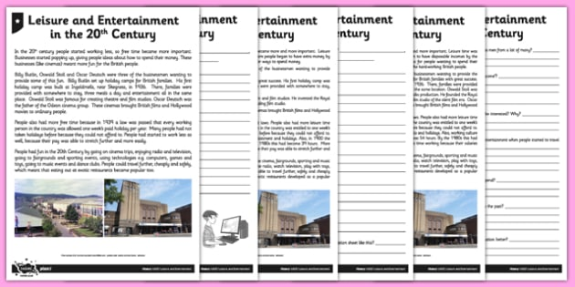 Leisure and Entertainment in the 20th Century Differentiated Reading Comprehension Activity - holiday, camp, modern, 20th century