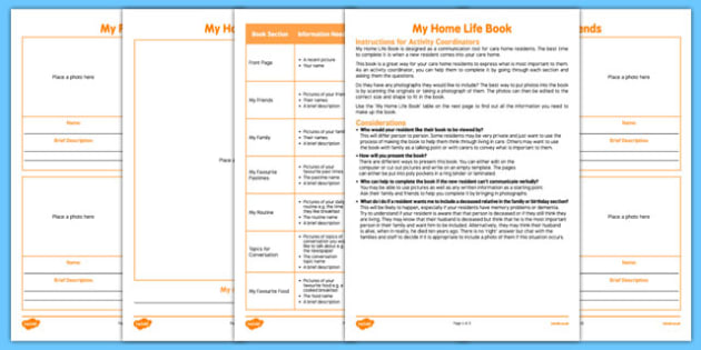 Elderly Care Home Life Book - Elderly, Reminiscence, Care Homes, Book, New Residents
