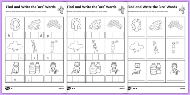 Find and Write the ure Words Differentiated Activity Sheet Pack, worksheet