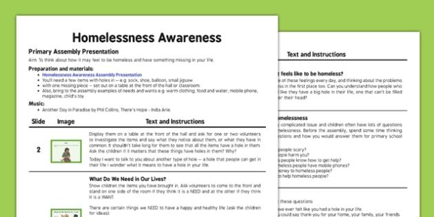 Homelessness Awareness Assembly Script - homelessness, awareness, assembly, script