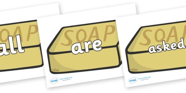 Tricky Words on Soap - Tricky words, DfES Letters and Sounds, Letters and sounds, display, words