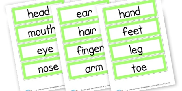 Body Parts Word Cards - My Body Primary Resources, our body, bodies, growth, health
