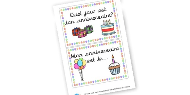 French Birthday Board - display lettering - French Langauge Primary Resources,  MFL, French, francais, France