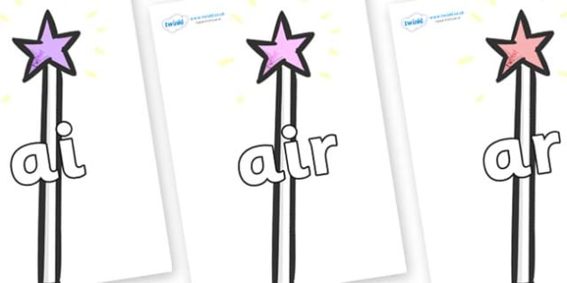 Phase 3 Phonemes on Wands - Phonemes, phoneme, Phase 3, Phase three, Foundation, Literacy, Letters and Sounds, DfES, display
