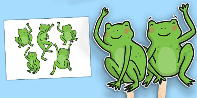 5 Little Speckled Frogs Stick Puppets - stick, puppets, frogs