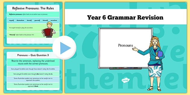 Year 6 Grammar Revision Guide and Quick Quiz Pronouns - y6, year 6, KS2, pronouns, booster, revision, SAT tests, SPaG