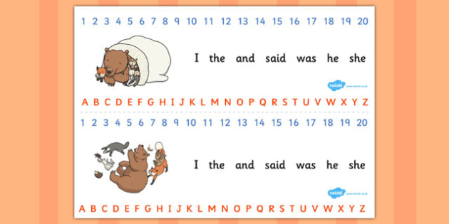 The Mitten Combined Number and Alphabet Strips - the mitten