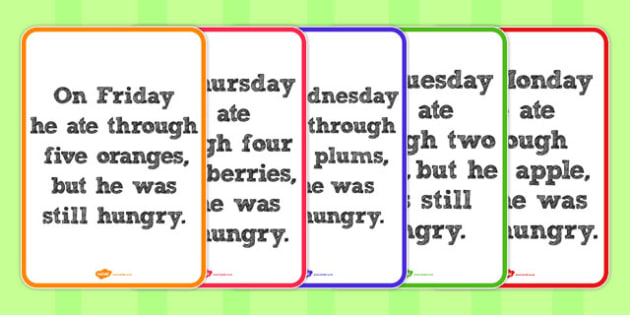 Fruit Weekday Posters to Support Teaching on The Very Hungry Caterpillar - australia