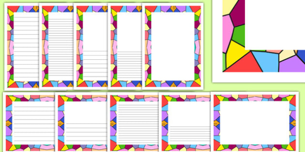 Stained Glass Window Themed Page Borders - writing, diplay, neat, final copy, margins, RE, pictures, images, early years, ks1, ks2, topic,