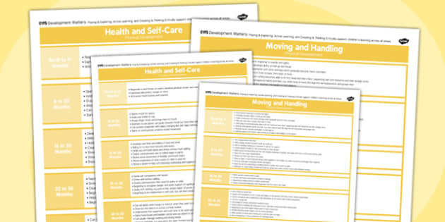 EYFS Early Years Outcomes Posters Physical Development - Early, Years, Outcomes