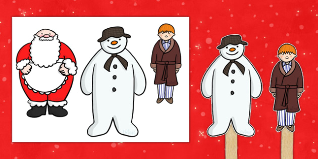 Stick Puppets to Support Teaching on The Snowman - puppets, puppet, stick puppet, the snowman, the snowman puppets snowman story characters, story, story book, story characters, story book characters, story resources