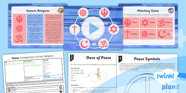 PlanIt - RE Year 5 - Peace Lesson 3: Comparisons Across Religions Lesson Pack - Inner Peace, Community Cohesion, Mindfulness, Shalom, Eastern, Western
