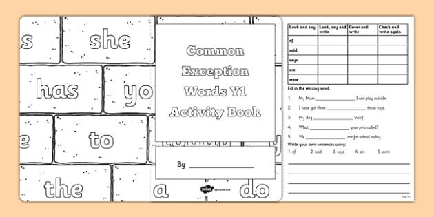 Common Exception Words Y1 Activity Book - common exception words, year 1, activity book, activity, book, excpetion words