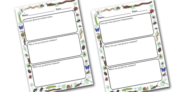 My Favourite and Least Favourite Minibeast Writing Frame - writing frame, frame, writing, my favourite minibeast, my least favourite minibeast, writing activity, minibeast writing activity, writing aid, writing template, template, literacy, reading a
