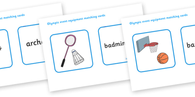 The Olympics Event Equipment Matching Cards - Olympics, Olympic Games, matching cards, matching, cards, activity, sorting, sports, Olympic, London, images, editable, event, picture, 2012, activity, Olympic torch, medal, Olympic Rings, mascots, flame,