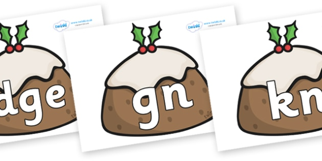 Silent Letters on Christmas Puddings - Silent Letters, silent letter, letter blend, consonant, consonants, digraph, trigraph, A-Z letters, literacy, alphabet, letters, alternative sounds