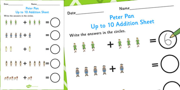 Peter Pan Up to 10 Addition Sheet - numeracy, worksheets, add