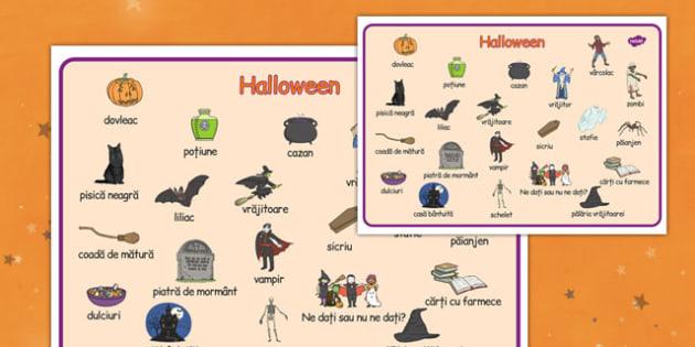 Halloween - Planșă cu imagini și cuvinte - Halloween, planșete, modelaj, plastilină, toamnă, joc, dexteritate, arte, romanian, materiale, materiale didactice, română, romana, material, material didactic