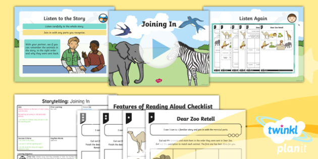 PlanIt Y1 Animals: to Support Teaching on Dear Zoo Lesson Pack Storytelling (1) - Dear Zoo, animals, stories, repeating parts, oral, performance, audience, retell