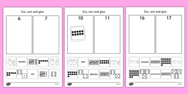 Cut and Stick Number Sort Worksheets - fine motor skills, maths