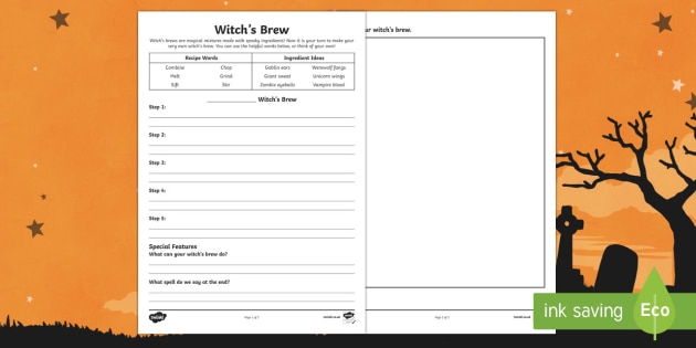 Witch's Brew Activity Sheet