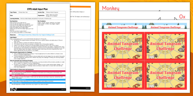 Chinese Animal Tangram EYFS Adult Input Plan and Resource Pack - eyfs planning, early years activities, shape space measure, 2d shpaes, mathematics