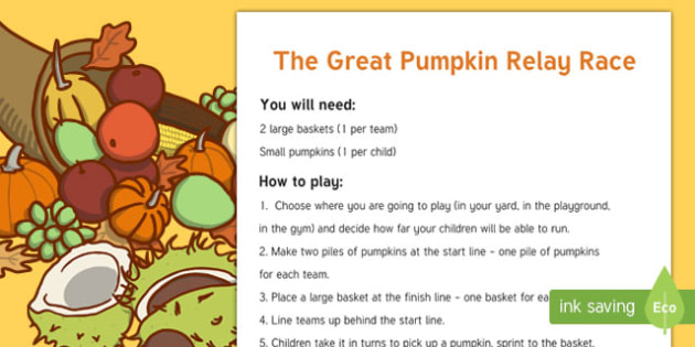 The Great Pumpkin Relay Race Game
