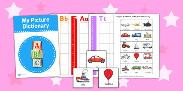 Transport Themed Picture Dictionary Word Cards - word cards