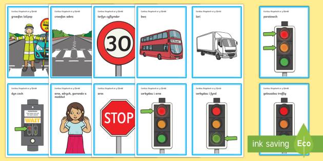 Diogelwch ar y Ffordd Cardiau Fflach Geiriau - WLW Diogelwch y Ffordd (Road Safety Week) cardiau, gerifa allweddol, Cymraeg, cyfnod sylfaen,Welsh