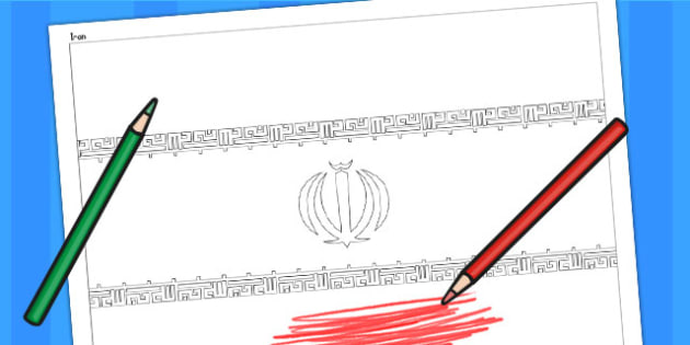 Iran A4 Colouring Flag - geography, flags, country, colour in