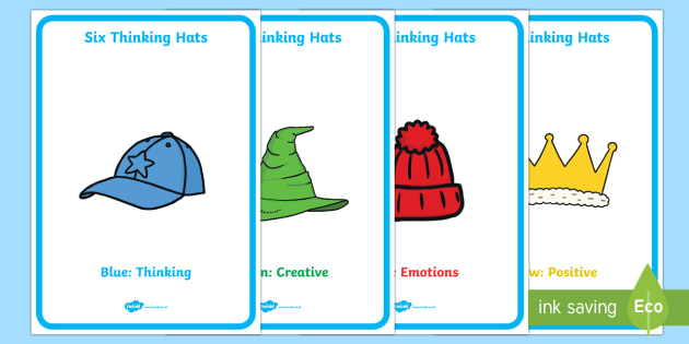 Six Thinking Hats A4 Display Posters - six thinking hats, six, thinking hats, think, hat, display posters, display, posters