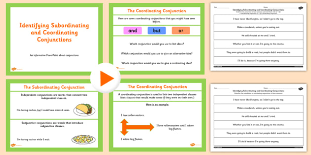 Identifying Subordinating and Coordinating Connectives Teaching Pack