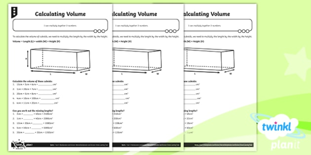 PlanIt Y4 Multiplication and Division Calculating Volume Differentiated Home Learning