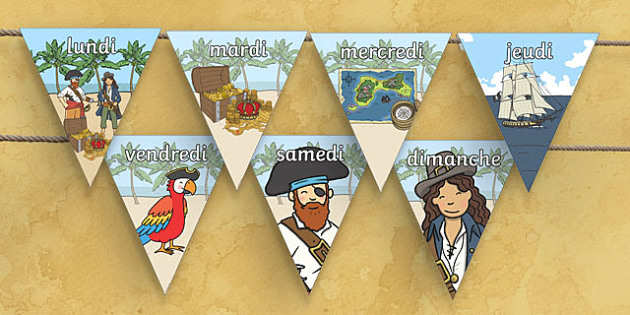 Pirate Themed Days of the Week on Bunting French - french, pirate themed, days of the week, bunting, pirate bunting, days of the week on bunting, bunting