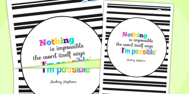 Nothing Is Impossible Motivational Poster - motivation, display