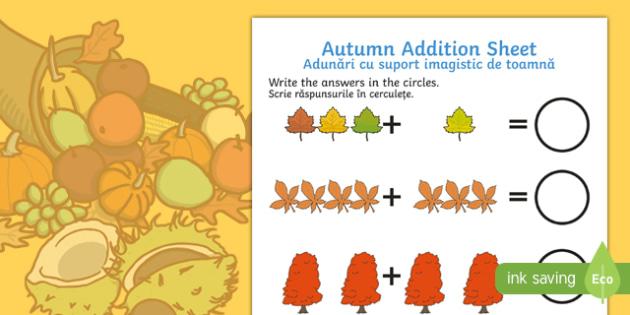 Autumn Addition Sheet English/Romanian - Autumn Addition Sheet - autumn, addition sheet, addition, maths, numeracy, adding, seasons, addition