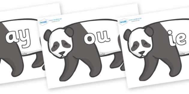 Phase 5 Phonemes on Pandas - Phonemes, phoneme, Phase 5, Phase five, Foundation, Literacy, Letters and Sounds, DfES, display