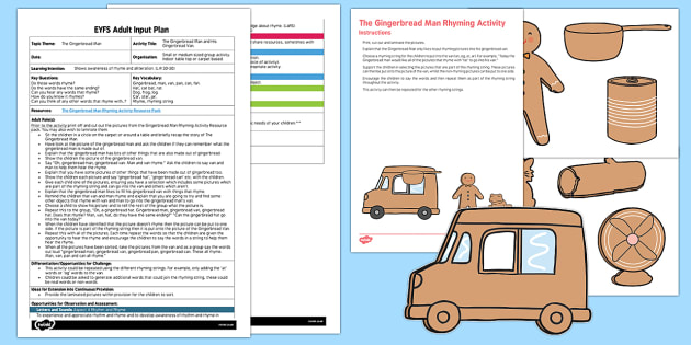 EYFS The Gingerbread Man and His Gingerbread Van Adult Input Plan and Resource Pack - The Gingerbread Man, Traditional Tales, rhyme, phonics, aspect 4, rhyming