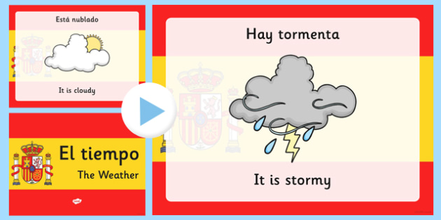 Spanish Weather PowerPoint - spanish, Weather, Rain, Shine, spain