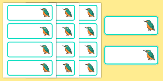 Kingfisher Themed Editable Drawer Peg Name Labels - Themed Classroom Label Templates, Resource Labels, Name Labels, Editable Labels, Drawer Labels, Coat Peg Labels, Peg Label, KS1 Labels, Foundation Labels, Foundation Stage Labels, Teachi