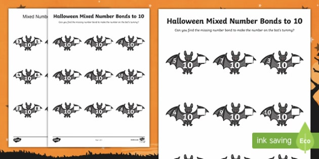 Halloween Themed Mixed Number Bonds to 10 Activity Sheet
